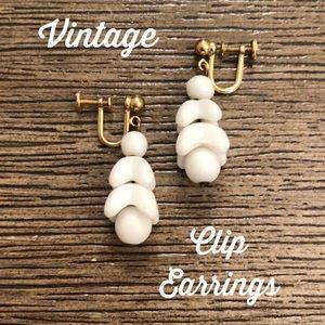 Vintage Dangle White Milk Glass Clip Earrings